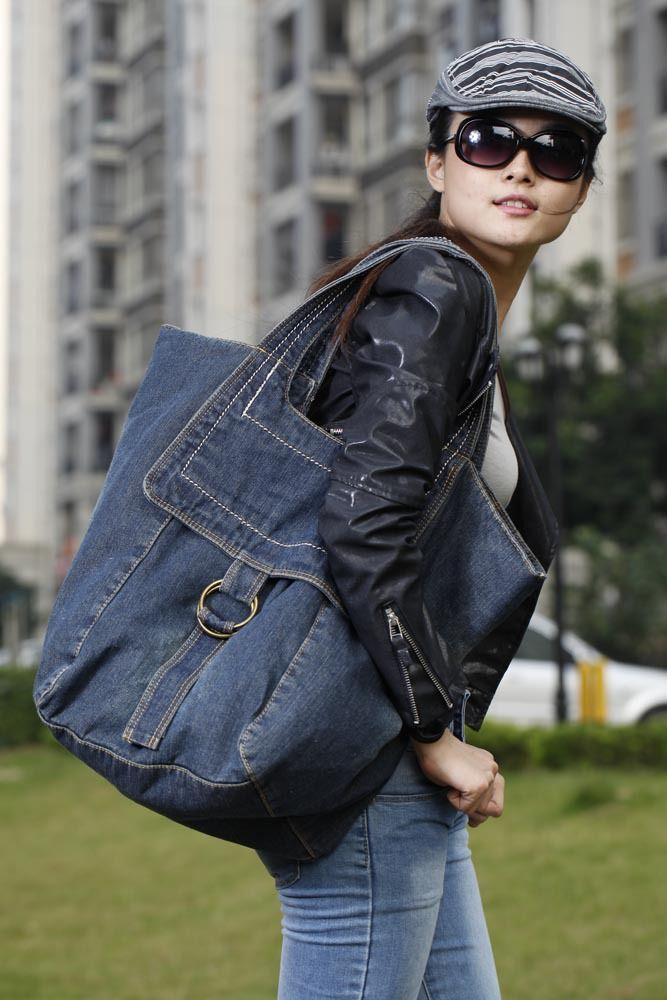 Casual women denim bag for travel female big shoulder bags vintage blue jeans bag ladies purse 2colors bolsa feminina