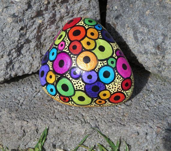 Painted Beach Rock, Circles, Dots, Rainbow Colors, Black, Gold