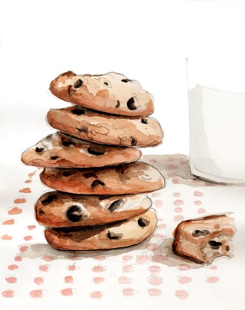 By Tracey Hetzel. Cookies and milk illustration.
