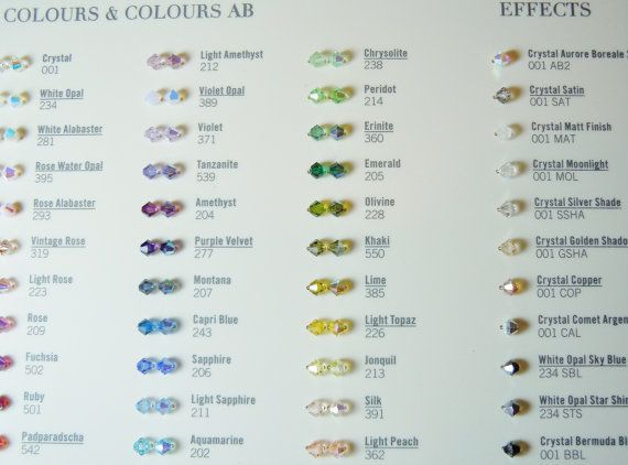 Last one! Swarovski Crystal BEAD Color Chart with Sample by - sample general color chart
