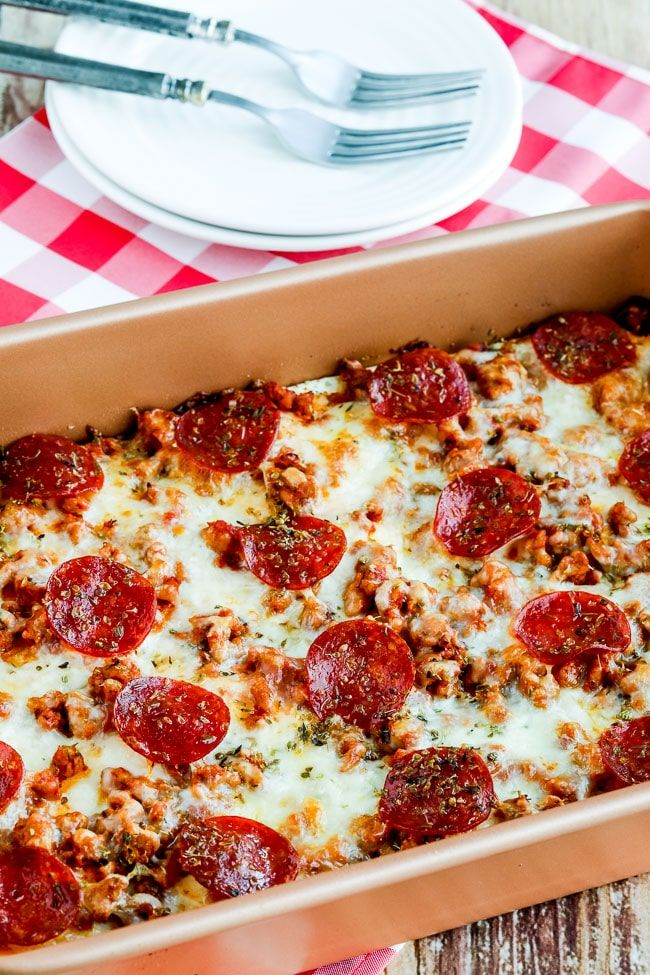 Sausage And Pepperoni Layered Pizza Bake Low Carb Or Keto