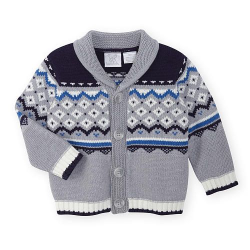 Koala Kids Boys Navy/Grey Fairisle Print Sweater Knit Cardigan - Babies R  Us -