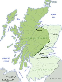 Lowland-Highland divide...The region became culturally distinguishable from the Lowlands from the later Middle Ages into the modern period, when Lowland Scots replaced Scottish Gaelic throughout most of the Lowlands.