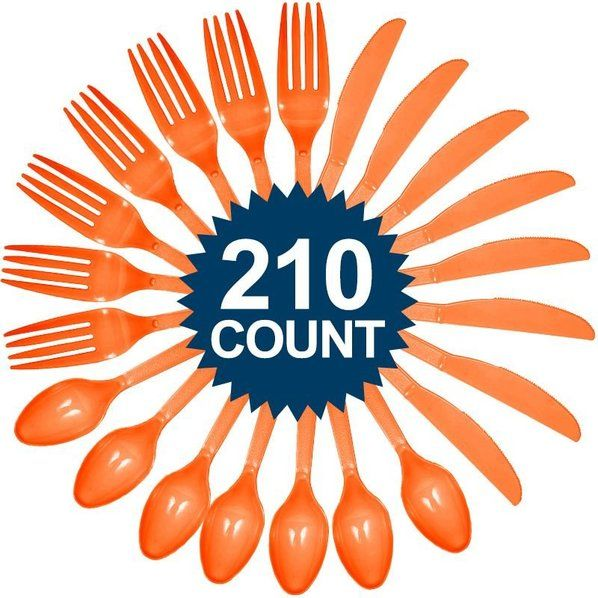 Check out Orange Cutlery Set - Reduced Themed Tableware Accessories and Decorations from Wholesale Party Supplies