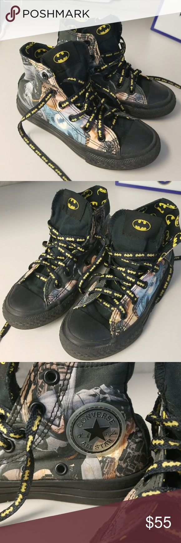 Batman Converse Chuck Taylors These are in like new condition  .only worn once. Boys size 12. Converse Batman DC Comics Chuck Taylors. Rare!! Converse Shoes Sneakers