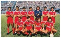 El América de 1985 en El Pulso del Fútbol Arriba (Izq - Der) Ampudia, Aponte, Luna, Valencia, Julio César Falcioni, Santín y Espinoza. (Izq - Der) Willington Ortiz, Cabañas, Ricardo Gareca y Juan Manuel Battaglia.