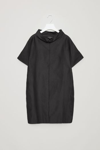 COS image 2 of Dress with folded collar in Black