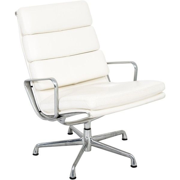 Pre-owned Herman Miller Eames Executive Desk Chair (16.323.125 IDR) ❤ liked on Polyvore featuring home, furniture, chairs, office chairs, white, oversized leather chair, white leather office chair, white chair, white office chair and oversized chairs