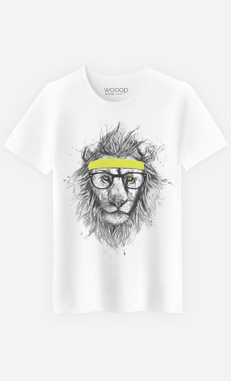 T-Shirt Homme Hipster Lion by Solti Balazs - Art Shop - Wooop.fr