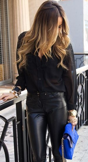 Leather <3 Not to Mention the Lovely Brown Ombre Hair ....
