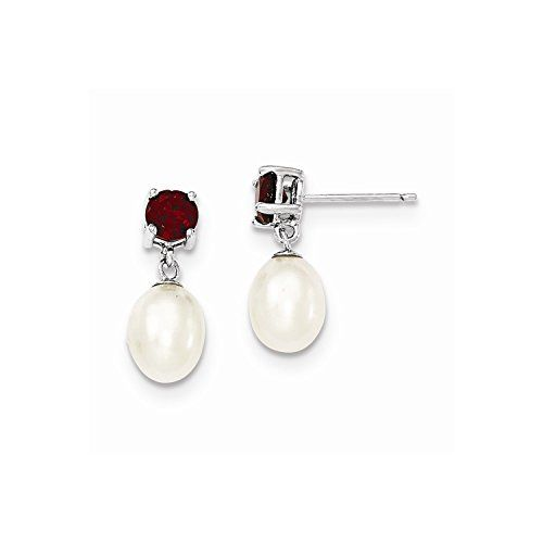 925 Sterling Silver 7-8mm Freshwater Cultured Pearl /& Garnet Dangle Post Earrings