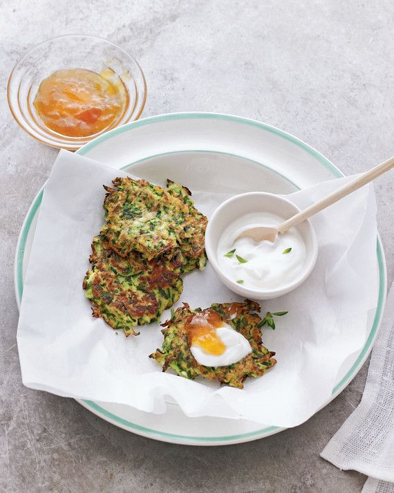 The fresh oregano and parsley in these fritters offset the tang of yogurt and the sweetness of apricot jam.