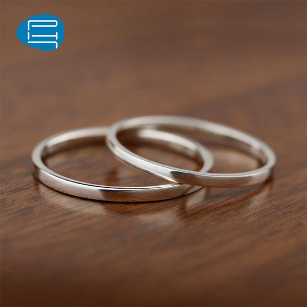 PH7 Handmade Couples Rings, 1.5mm Wide Polished Thin Ring Band, Simple Flat Sterling Silver Promise Rings, Matching Couple Jewelry Set for Him and Her