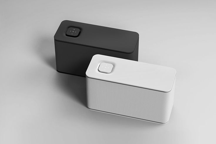 This might be my favorite speaker design EVER. Perfectly minimal in pure white or black, the geometrically simple design features fine fabric between two plastic surfaces.