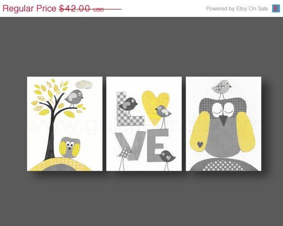 Nursery art, baby nursery decor, Kids, children art, kids wall art, yellow, gray, owl, bird, Tree, love, Set of three 8x10 prints