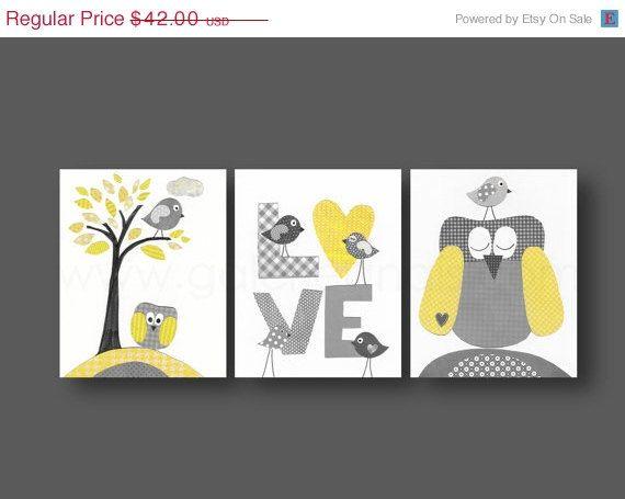 Nursery art, baby nursery decor, Kids, children art, kids wall art, yellow, gray, owl, bird, Tree, love, Set of three 8x10 prints