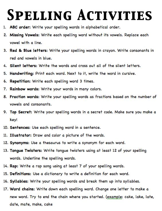 Nice list of spelling activities