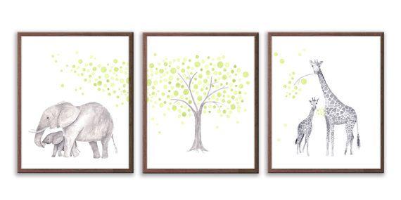Groene en grijze kwekerij Baby Nursery kunst door TheDaisyFields