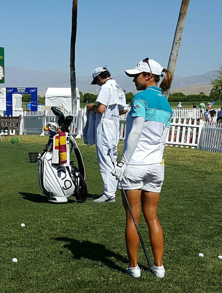 LPGA Azahara Munoz with her country colors Golf Towel
