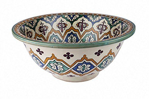 Fez / Essouira Ceramic Hand painted Moroccan Bathroom Sink Basin - Round, Painted inside out - Di 40 cam H 16 cm -