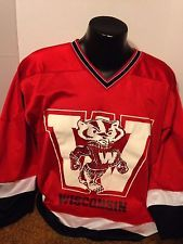 WISCONSIN BADGERS, HOCKEY JERSEY, LARGE, MENS, RED, BY RED OAK