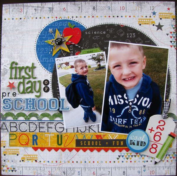 School class Scrapbooking Layouts   little yellow bicycle head of class layout