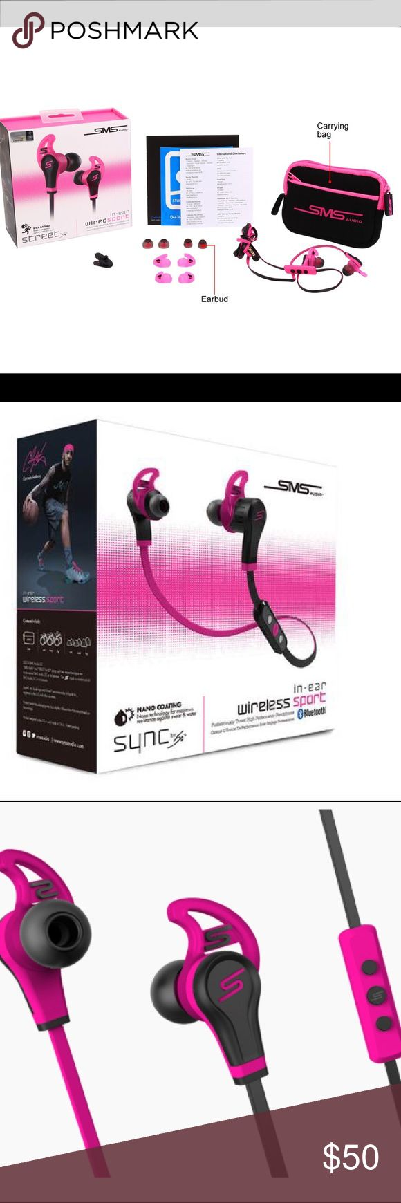 SMS Audio pink in-ear wired sport headphones Experience brilliant, Studio Mastered Sound in a headphone designed for active lifestyles. The In-Ear Wired Sport is perfect for the consumer that demands more out of life. street by 50 Other
