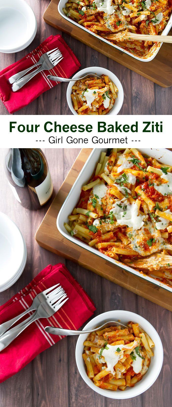Four cheese ziti is a go-to favorite! This version has pockets of melty cheese layered with pasta and tomato sauce | girlgonegourmet.com