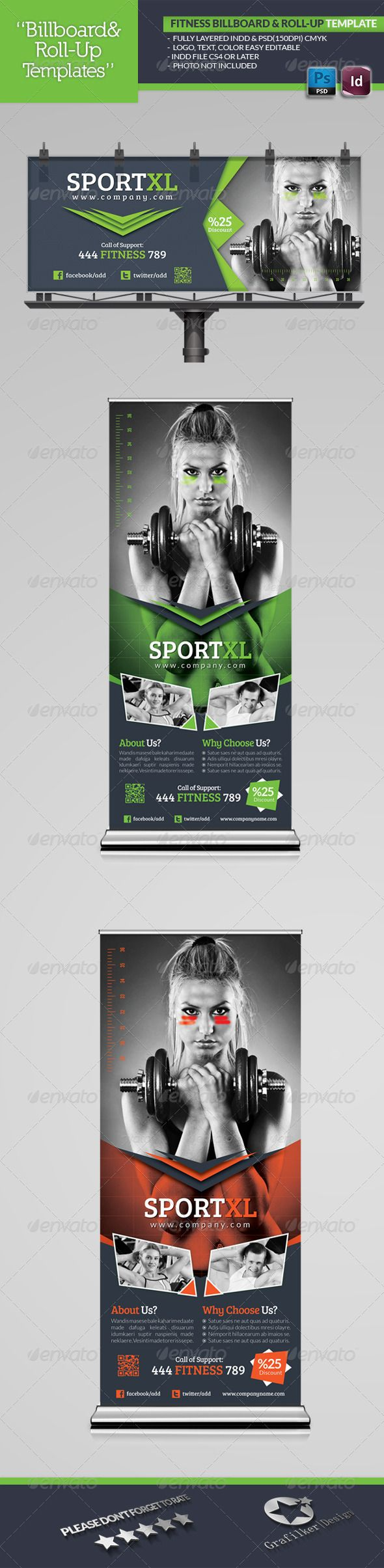 Fitness Billboard & Roll-Up Template #design Download: http://graphicriver.net/item/fitness-billboard-rollup-template/5014982?ref=ksioks