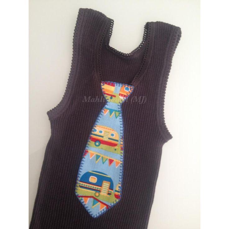 Xmas Sale 40% off store wide $9.00 BT3178 Sz 000 Boys dark grey top with Retro Caravan tie by MahliJewelMJ on Handmade Australia