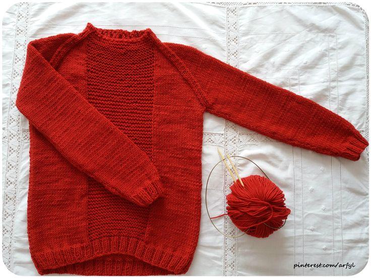 pullover rot junge von unten gestrickt raglanpullover kinder  спицами  пуловер кофта спицями мальчик хлопчик