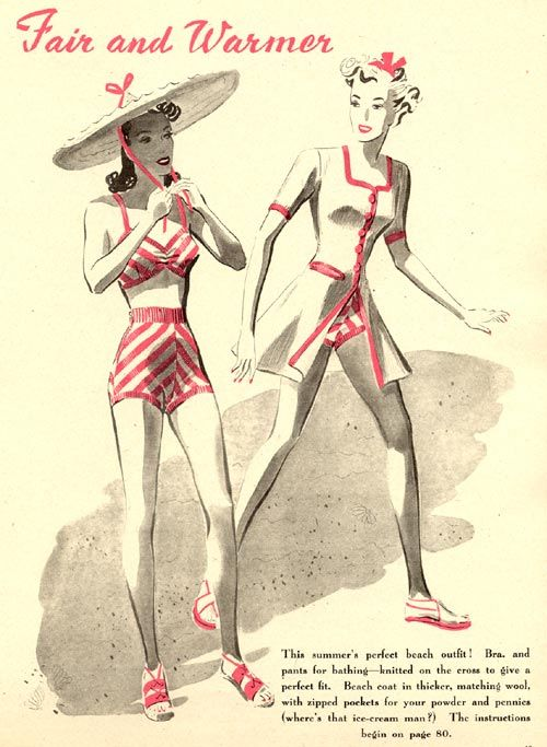 The Vintage Pattern Files 1930s Knitting Two Piece Swimsuit