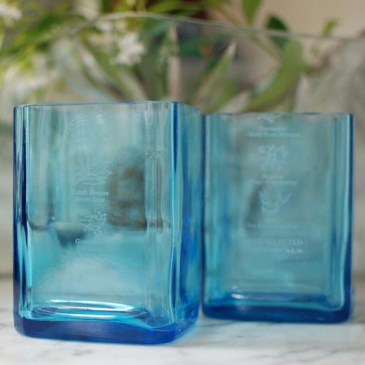 World Market Hand Blown Drinking Glass Blue