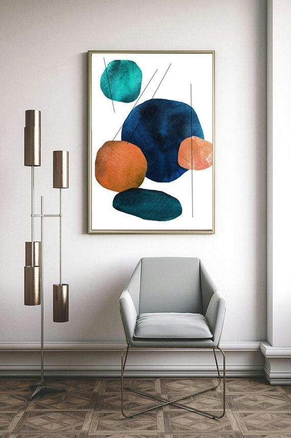 Mid Century Modern Print For Instant Download Geometric Printable Wall Art Blue Terracotta Print In 2020 Modern Art Diy Mid Century Wall Art Wall Art Living Room