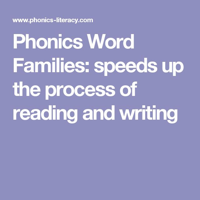 Phonics Word Families: speeds up the process of reading and writing