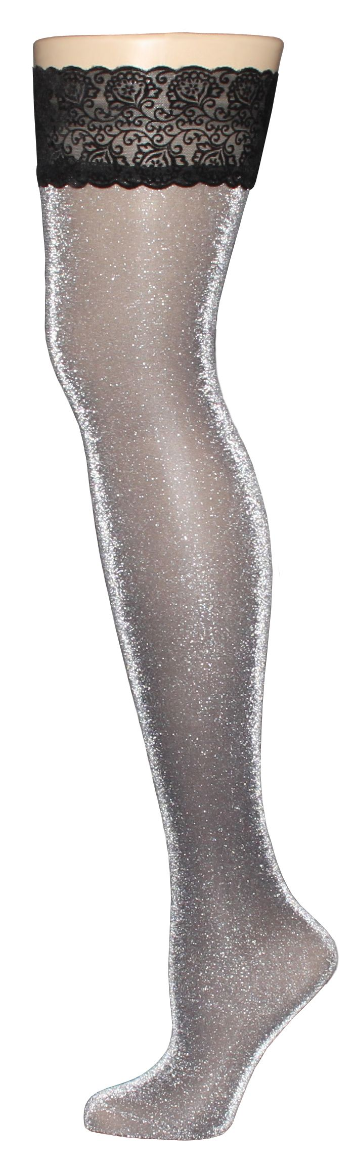Showcase your glittery personality GISELLA Silver Sparkle hosiery. All eyes will be on you as you strut your stuff in gorgeous silver! Additionally, the velvet band on these stockings will securely and comfortably hold up this pair of stockings on your leg. If you're feeling especially sassy, you can also wear them for a playful weekend. VienneMilano thigh high stockings do not require a garter belt.