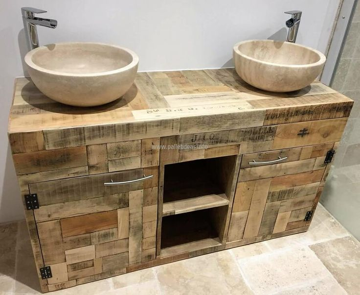 Here you can see clearly that there is a storage space with the doors, there is also a space to place the items without the door like the towel which a person has to use often after washing face and hands. The reclaimed wood pallet rustic sink idea is simple but sober.