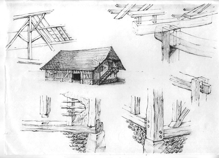 Ducumentary pencil sketches. Traditional farmhouse France, Eduard Moes