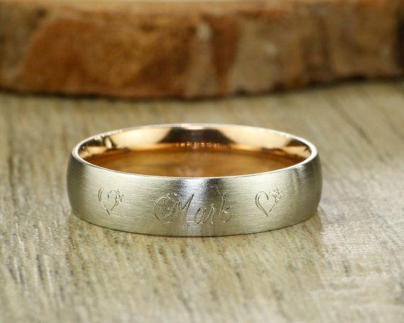 Men Ring Anniversary Ring Couple Ring Handmade Rose Gold Customized Matte Wedding Band Titanium Ring