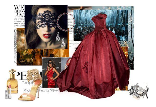 """Burgundy Gown-Masquerade Ball"" by wonderlandescape ❤ liked on Polyvore featuring Stop Staring!, Masquerade, Zac Posen, René Caovilla, Bottega Veneta, Clinique, bottegaveneta, ZacPosen, renecaovilla and sothebys"