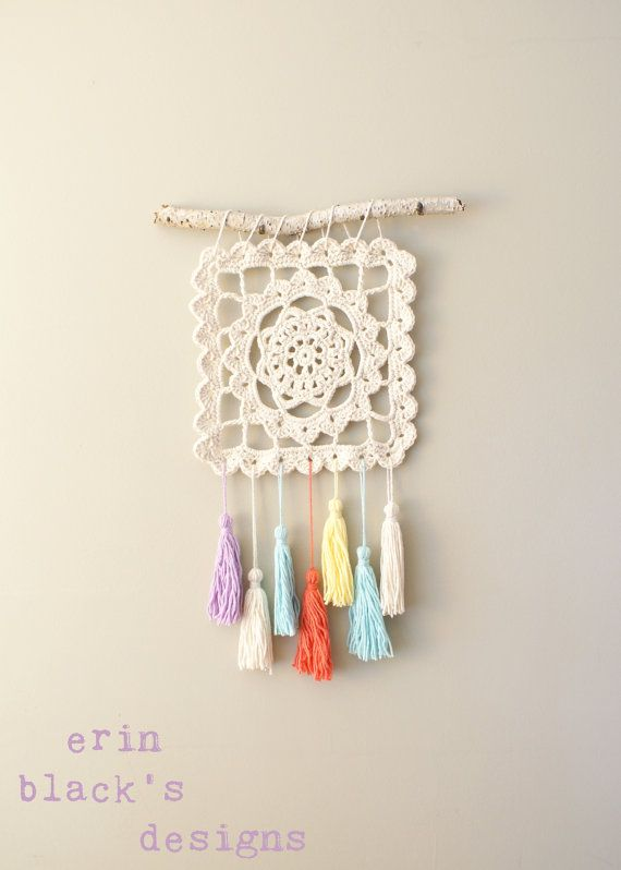 """DIY Crochet Patrón - soñando de abuela, Granny Square, 10,5"""" cuadrado del colgante de pared (HomDec010)"""