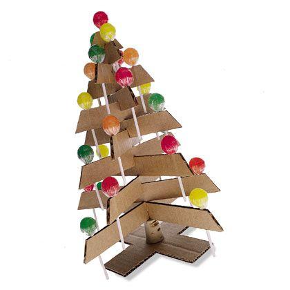crédit photo Family Fun  Ce sapin de Noël, version centre de table, peut faire office de calendrier de l'avent: il est en carton et ses décorations sont des sucettes. Si vous souhaitez une version moins gourmande ou du moins plus saine, remplacez les sucettes par des boules de papier crépon, cela restera une activité manuelle à faire avec ses enfants !Tuto trouvé sur Family Fun Instructions Vous aurez besoin de carton ondulé, d'un cutter, d'un bouchon de liège, d'une brochette en bois et…