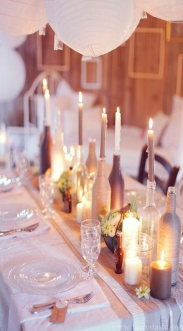 Frosted bottles and candle light