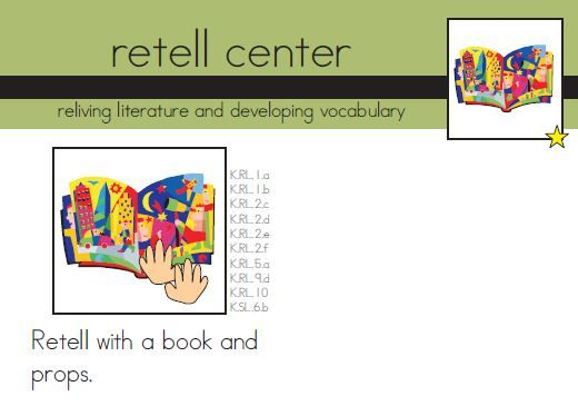 Ideas and printables for a kindergarten re-telling center.