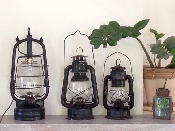 Grande Lampe Tempete Vintage Electrifiee Luminaire Francais Etsy French Lamp Large Lamps Lamp