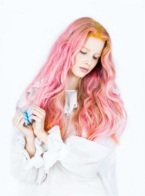 #pink #hairextensions #hair #unusual #original #striking #hairstyles #haircolors #pastels #hairdo #extensions #curls