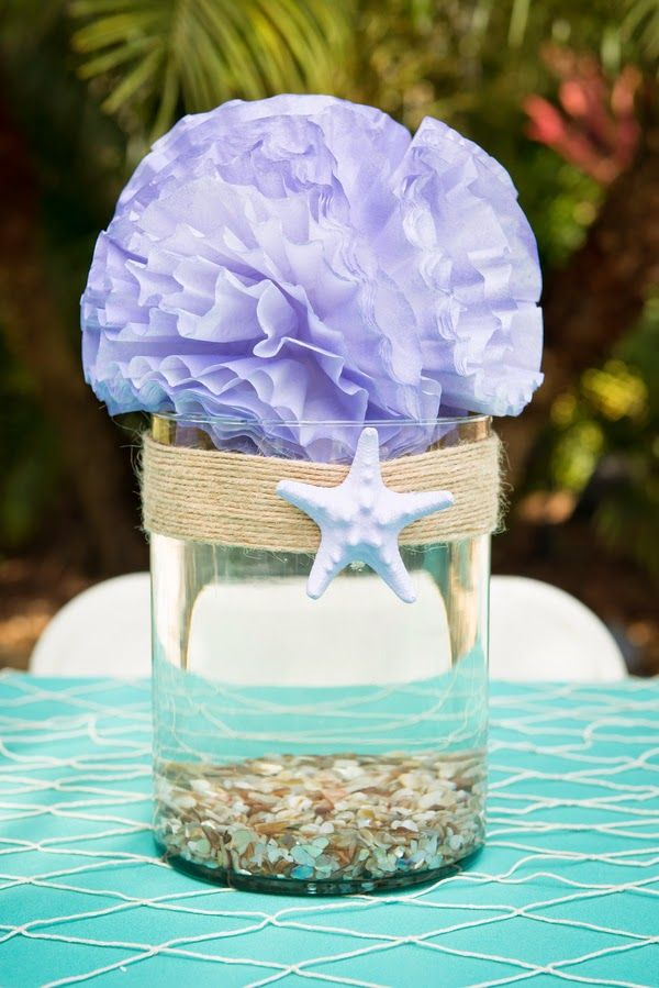 Beautiful Little Mermaid birthday party! Super easy DIY seashell centerpiece idea. Love it!