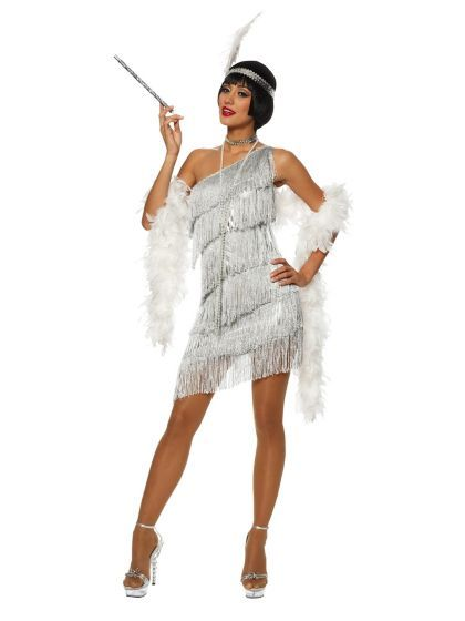 Sexy Dazzling Flapper Silver Costume | Cheap 20s Costumes for Adults