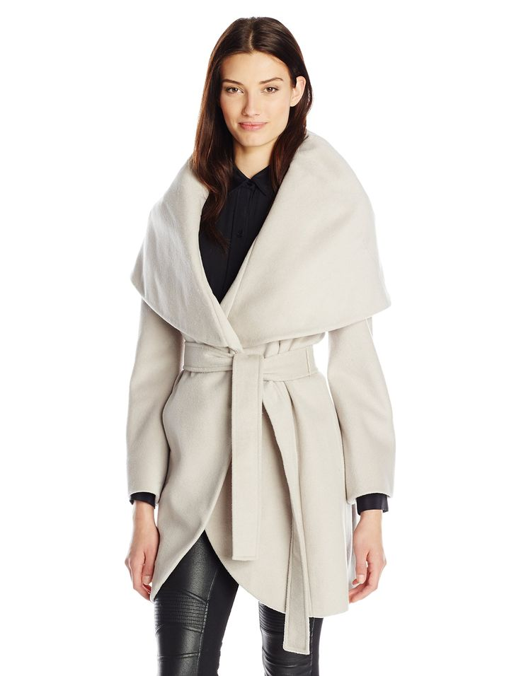 T Tahari Women's Marla Wool Wrap Coat Macrame Small | Fall