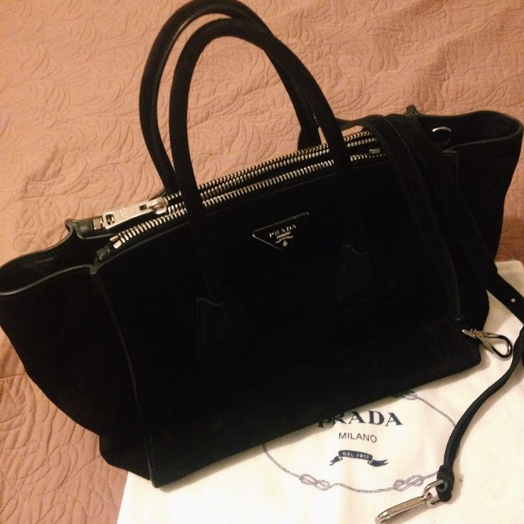 prada alligator wallet - Prada Suede Twin Pocket Tote Bag | Behind My Closet Doors ...